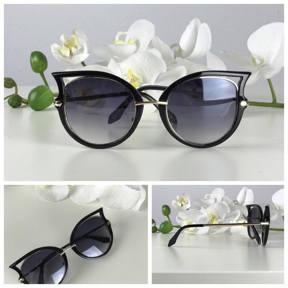 Оригинальные оверсайз-очки с оправой «стрекоза» (черная оправа с золотом) фото №1