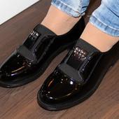 Туфли на резинке лак Н8049