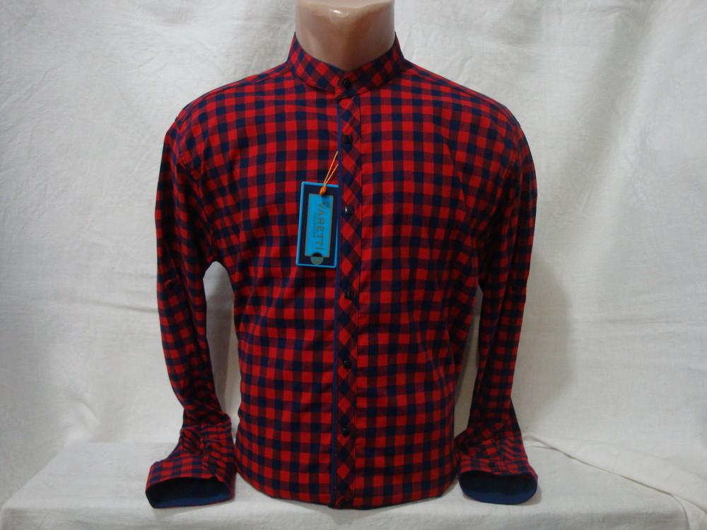Мужская рубашка в клетку с воротником стойкой fr.varetti, турция. разные цвета. фото №1
