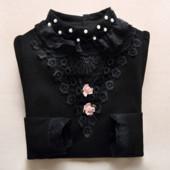 Черная нарядная блузка блуза гольф реглан с кружевом р.150-160