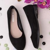 Классические замшевые балетки черного цвета