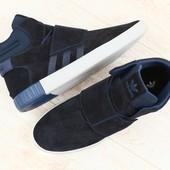 Мужские высокие кроссовки, синие, замшевые, на шнурках