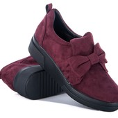 Изумительные слипоны,ботинки,бант-цвет марсала,бордо-36,37,38,39,40,41