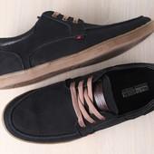 Мужские спортивные туфли, черные, из натурального нубука с кожаными вставками, на шнурках