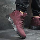 Зимние мужские кроссовки Nike Huarache burgundy