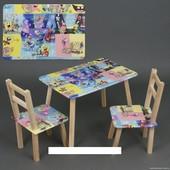 """Столик и два стульчика деревянные """"Губка Боб"""" С 075"""