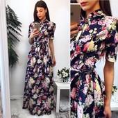 Платье в цветы джинс-котон 42-44 расцветки (8