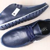 Мужские мокасины, кожаные, синие на шнурках,