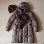 Очень теплый фирменный пуховик шапка из кролика в подарок