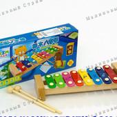 Деревянный ксилофон 0459, 8 тонов, разноцветные пластины