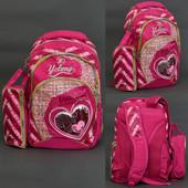 Рюкзак школьный, Сердце, 3 вида, 3 отделения, пенал, ортопедическая спинка