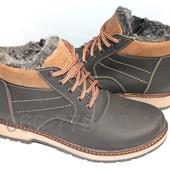 Зимние мужские ботинки ,кожа, цвет черный-олива