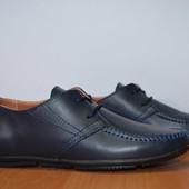 Подростковые туфли visazh 32-39 р черный и синий цвет