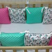Защитные бортики (подушечки) в кроватку. 12 штук!!! В использовании были 1,5мес.