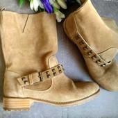 Замша,кожа /Новые Оригинал Pull&bear Испания стильные  ботинки,полусапоги 39р/25+-см