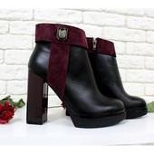 2 цвета!!! Новинка!!! Ботинки на высоком каблуке  код:Ж Б-1662