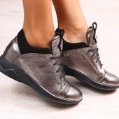Женские криперы-сникерсы, платиновые, кожаные, с вставками из натуральной замши, на шнурках