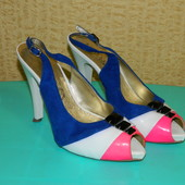 Босоножки женские на каблуке белые с розовым и синим р. 38 Blossem
