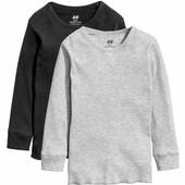 Реглан тонкая кофта футболка в рубчик H&M комплект 2 шт, 1,5-2, 2-4,6-8 лет