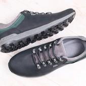 Мужские полуботинки, демисезонные, кожаные, темно-серые, на шнурках