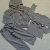 Серый спортивный костюм-тройка ( 3-4 г. )