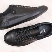 Мужские спортивные туфли, черные, кожаные, на шнурках