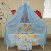 Комплект постельного белья в кроватку мишки горох голубое