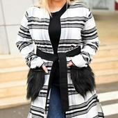 Размеры 50-56 Стильное кашемировое пальто-кардиган