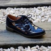 Туфли броги лак Т125