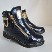 Стильные лаковые ботиночки на молниях 27,28,30 р