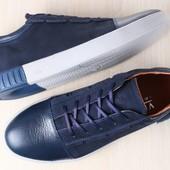 Мужские спортивные туфли, комбинированные: натуральная кожа и нубук, синие, на шнурках
