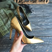 Золотые туфли лодочки Zara p-p 39