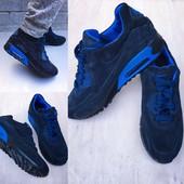 Мужские кроссовки замша синяя