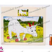 Деревянные пазлы Домашние животные, коза, 12 деталей, картинка-образец