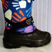 Детская зимняя обувь сапоги сноубутсы на липучке с съёмным валенком