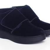 Синие замшевые женские ботинки