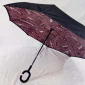 Хит! Реверсный женский Smart зонт наоборот, крепчайший зонт перевёртыш