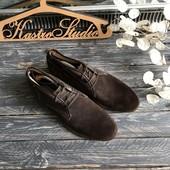 Замшевые мужские туфли-дерби р-р 42
