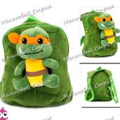 Детский рюкзак Черепашки Ниндзя, мягкая игрушка, удобная спинка, регулируеміе лямки, Микеланджело