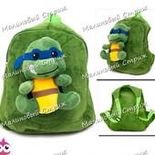 Детский рюкзак Черепашки Ниндзя, мягкая игрушка, удобная спинка, регулируемые лямки, Леонардо