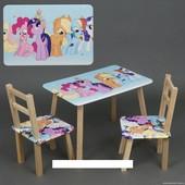 """Столик и два стульчика деревянные Столик и два стульчика деревянные """"Литл пони """" С 080"""