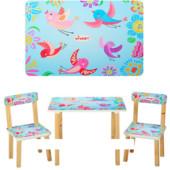 Детский столик 501-1 со стульчиками, Голубые Птички