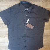 Рубашка с коротким рукавом Cast Iron лен-хлопок, размер L, маломерит на М