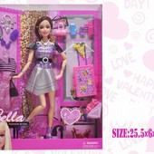 Кукла типа барби с набором одежды и аксессуарами,на шарнирах, в коробке 25,5*6,0*32,0 см