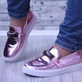 Женские слипоны туфли розовые лаковые