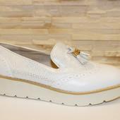 Туфли женские лоферы белые Т845
