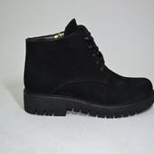 ботинки деми/зима натуральная замша Модель 21793-08-1, черный замш
