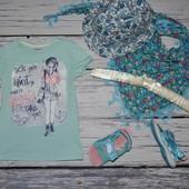 5 - 6 лет 110 - 116 см Крутая фирменная футболочка для стильной девочки с принтом