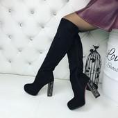 КОД 268 Ботфорты деми на устойчивом каблуке , материал Эко замш,  цвет  черный,  каблук 12см.,  высо