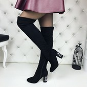 код 264 Ботфоты чулок,на устойчивом каблуке с камнями, материал качественный ЭКОзамш, цвет черный, к